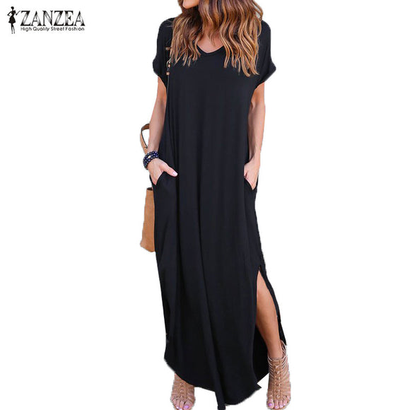 V Neck Casual Slit  Beach Maxi Long Dress