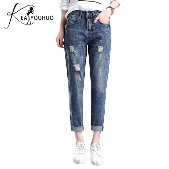 Denim  Plus Size 26 38 Ladies Loose Ripped Jeans