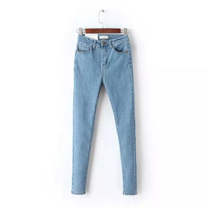 Washed Blue Denim Skinny Jeans