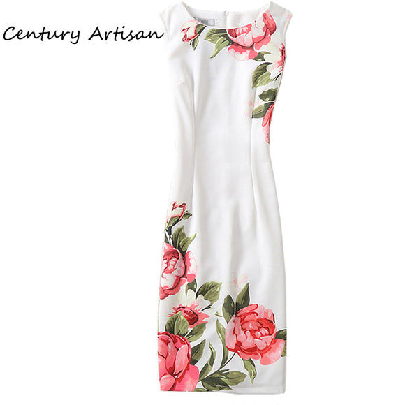 CYAN  Casual Plus Size Elegant Floral Print Party Dress