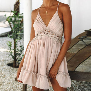 Sexy Strappy Backless Lace Crochet Splice Pleated Ruffled Mini Dress