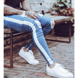 Knee Hole Side Zipper Slim Distressed Ripped Jeans