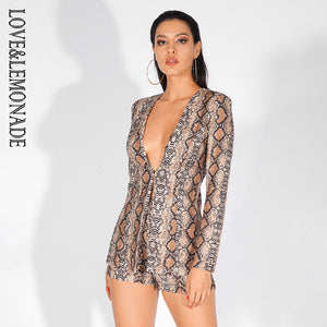 Sexy Deep V-Neck Snake Print Two-Pieces Set