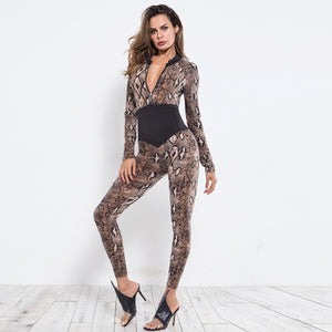 2 Piece Set Women Casual Sexy Stitching Print Fitness Suit