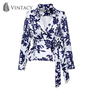 blue white print floral lace up jacket
