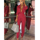 Long sleeves Striped Jumpsuit Casual Clubwear