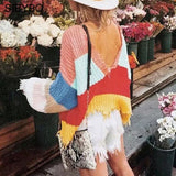 Autumn Knitted Rainbow Striped Sweater