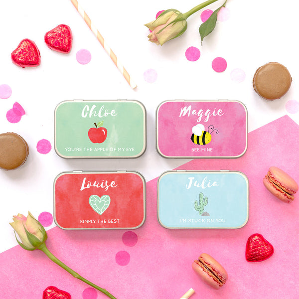 personalised valentines chocolate gift tin for her