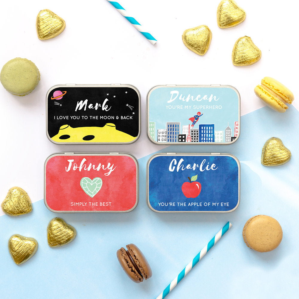 personalised valentines chocolate gift tin for him