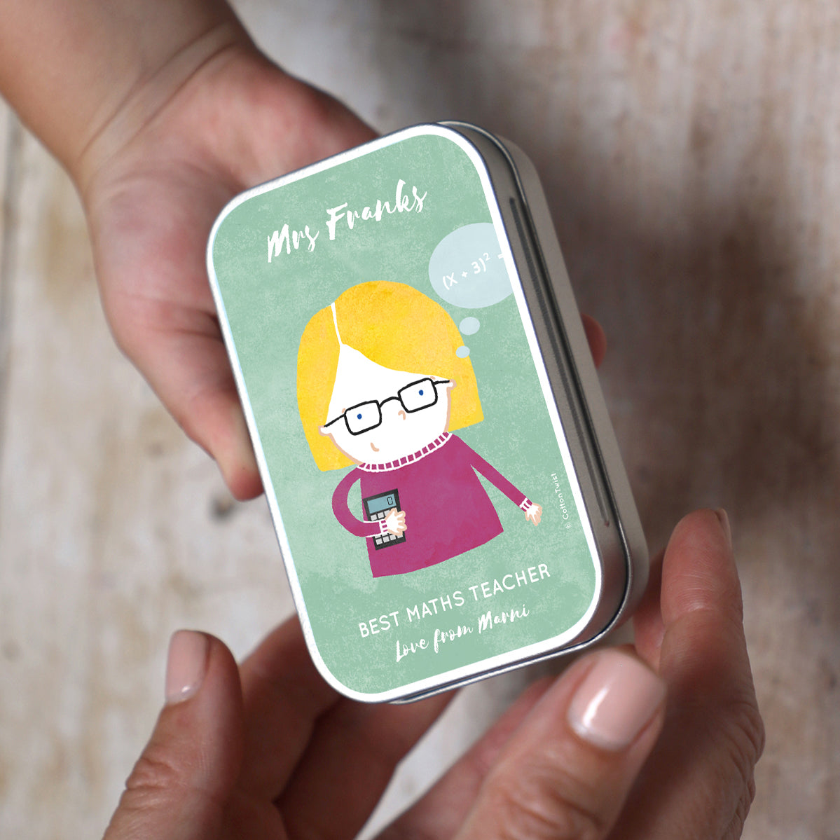 personalised character teacher keepsake tin