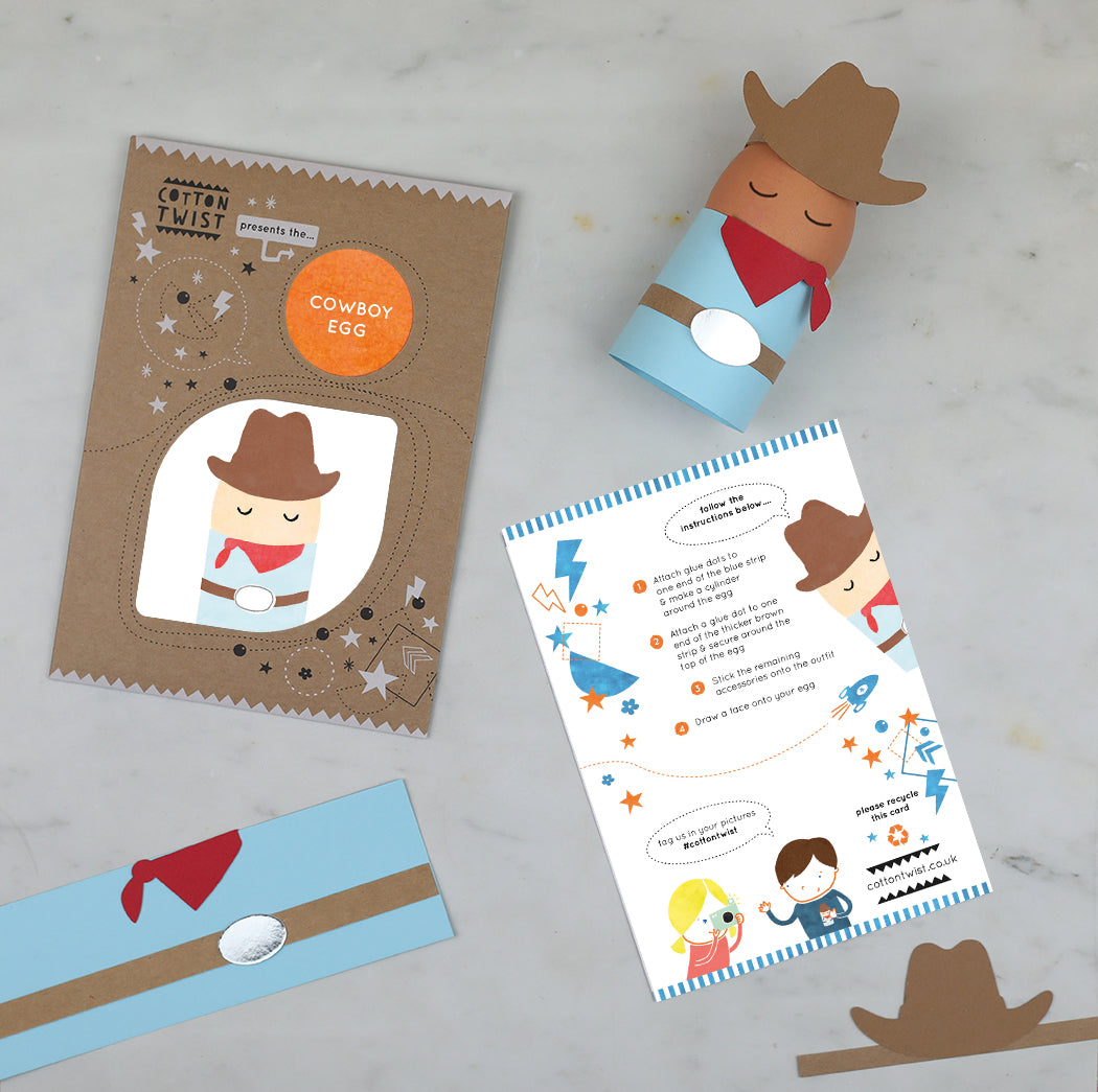 make your own cowboy egg character