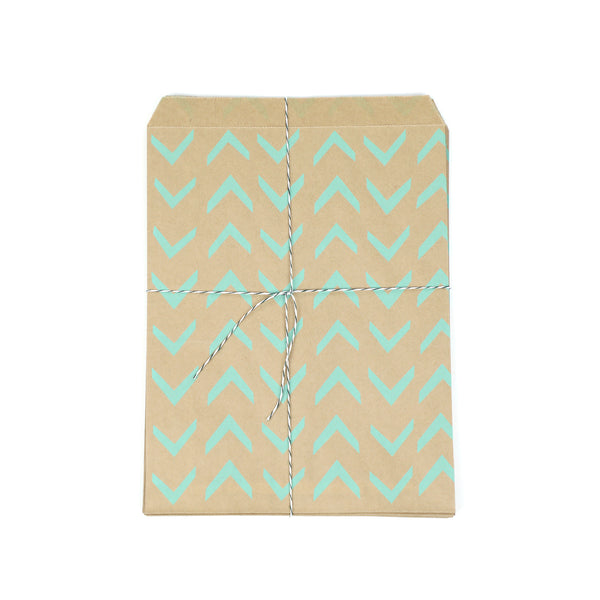 mint green retro kraft party bags with stickers