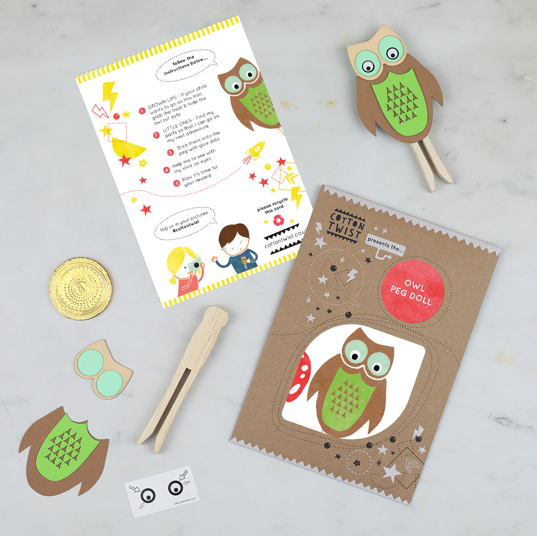 make your own owl peg doll kit