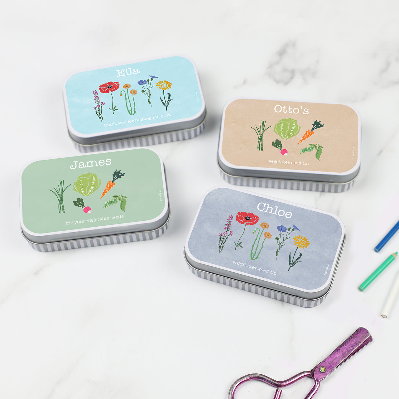 personalised seed gift tin