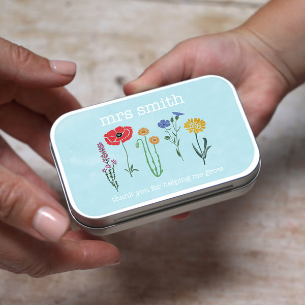 personalised teacher seed gift tin