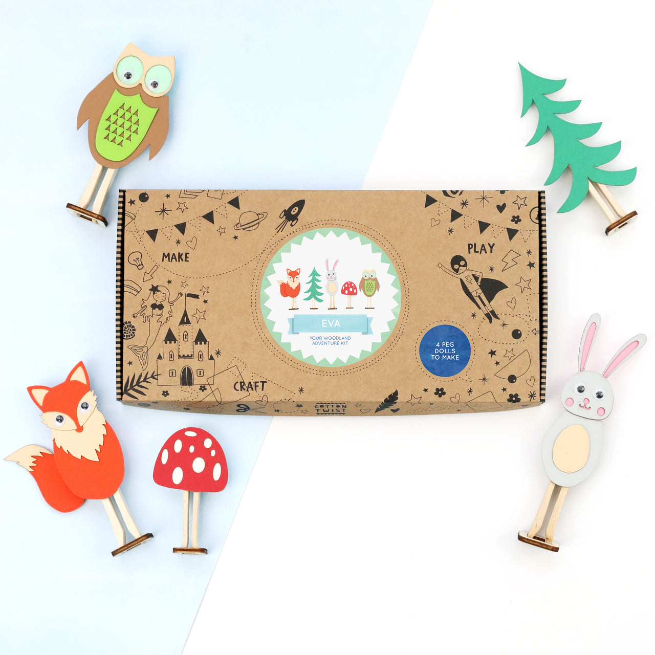 personalised woodland animal peg doll craft kit
