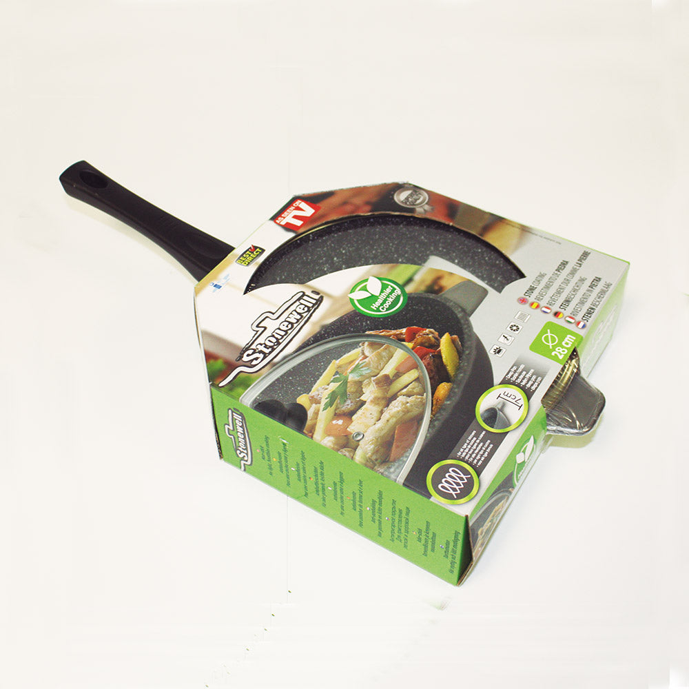 Stoneweel Deep Pan | High capacity deep frying pan | Stone particle made to maintain flavour | 28 cm