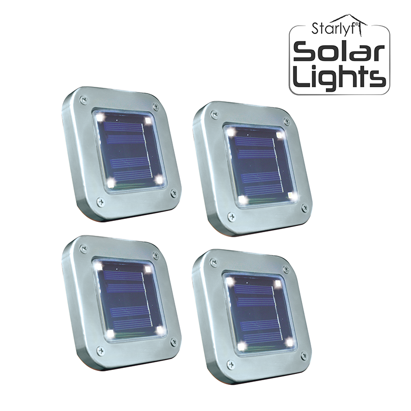 Solar Powered Outdoor LED Lights 4-Pack