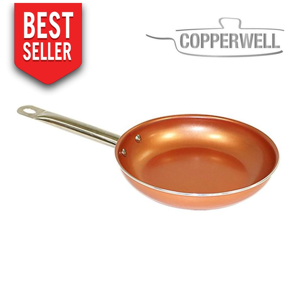 Copperwell Pan | Premium Copper Non-Stick Frying Pan No Oils Needed Healthy Cooking 28 Cm