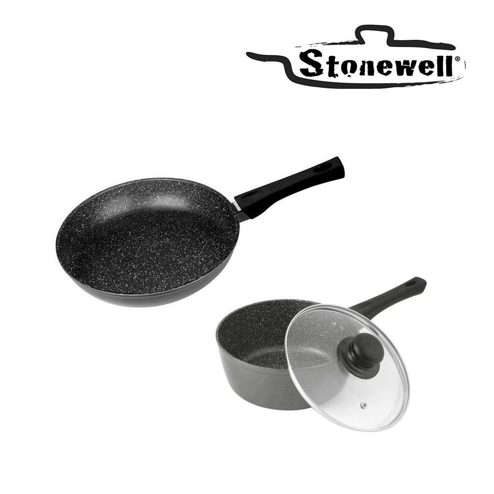 Stonewell Pan and Pot Set | Stone particle frypan to maintain the flavour | The best taste | 24 cm Pan + 16 cm Pot