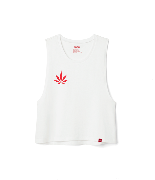 Women's White Tank with Red Geo Leaf