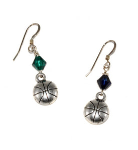 Basketball earrings and jewelry make great gifts for basketball moms, players, and teams.  Custom wholesale jewelry provides easy fundraising for your school, team, or club.  Add unique spirit wear to your team shop or school store.