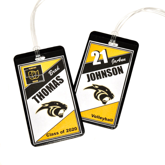 Plano East Panthers personalized bag tags