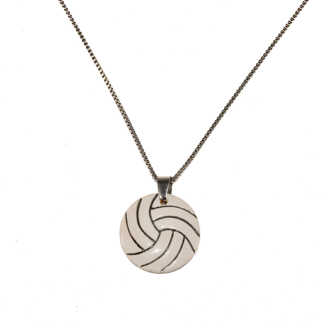 Ceramic Volleyball Necklace
