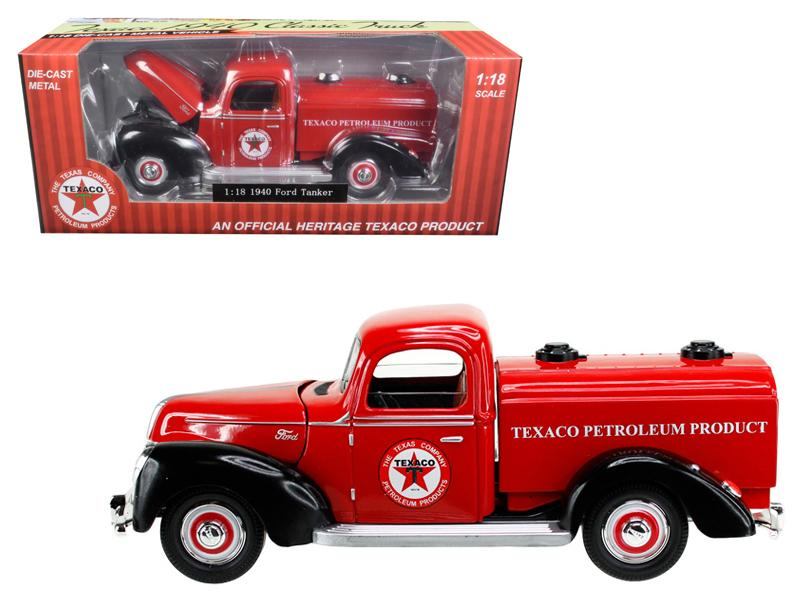 "1940 Ford Tanker \Texaco"" Red 1/18 Diecast Model Car by Beyond Infinity"""