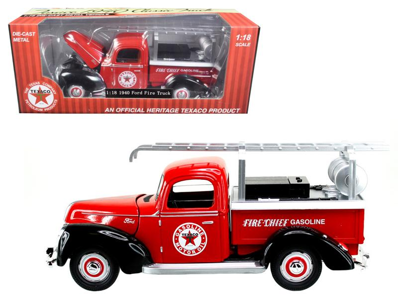 "1940 Ford Fire Truck \Texaco"" Red 1/18 Diecast Model Car by Beyond Infinity"""