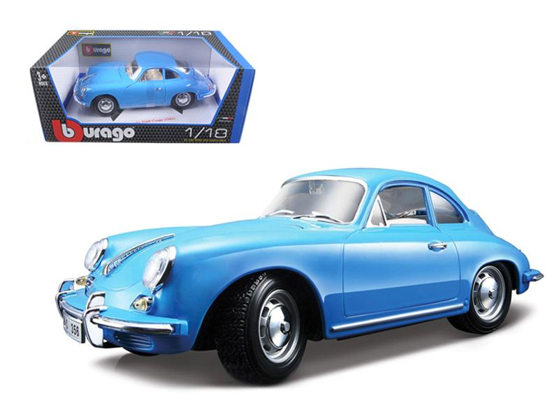1961 Porsche 356B Coupe Blue 1/18 Diecast Model Car by Bburago