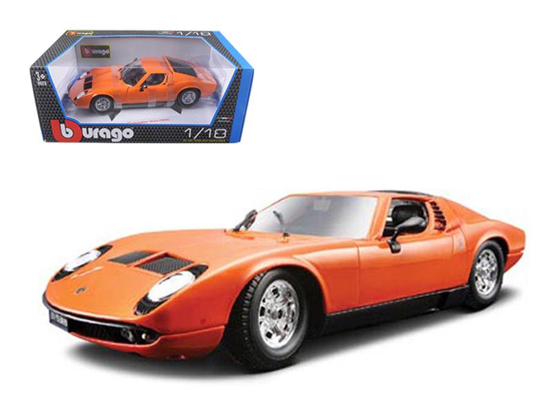 1968 Lamborghini Miura Orange 1/18 Diecast Car Model by Bburago