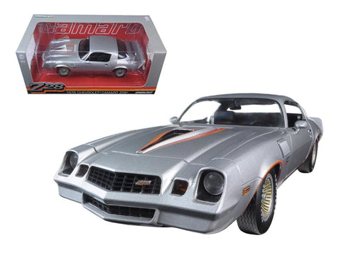 1978 Chevrolet Camaro Z/28 Silver Metallic with Orange Stripes 1/18 Diecast Model Car by Greenlight