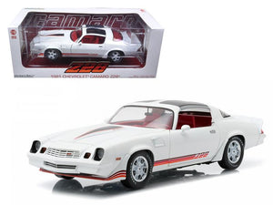 1981 Chevrolet Camaro Z/28 White with Red Stripes and Carmine Interior 1/18 Diecast Model Car by Greenlight