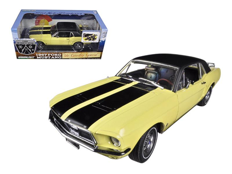 "1967 Ford Mustang Coupe \Ski Country Special"" Breckenridge Yellow with Black Stripes and Black Vinyl Roof and a Pair of Skies 1/18 by Greenlight"""