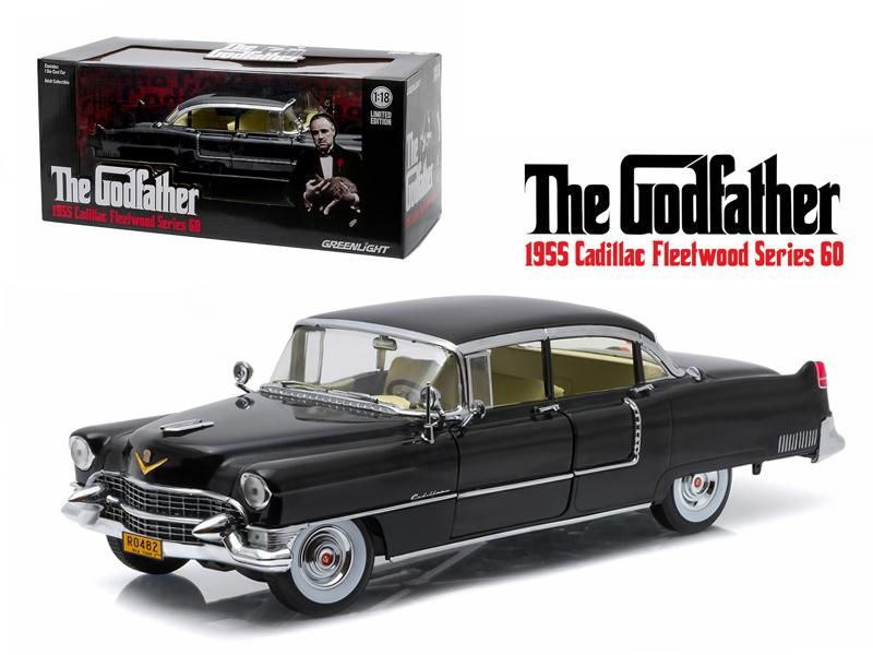 "1955 Cadillac Fleetwood Series 60 Special \The Godfather"" Movie (1972) 1/18 Diecast Model Car by Greenlight"""