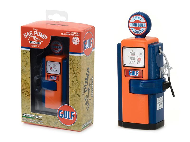 "1948 Wayne 100-A Gas Pump Gulf Oil \That Good Gulf Gasoline"" Gas Pump Replica Vintage Gas Pump Series 2 1/18 Diecast Model by Greenlight"""