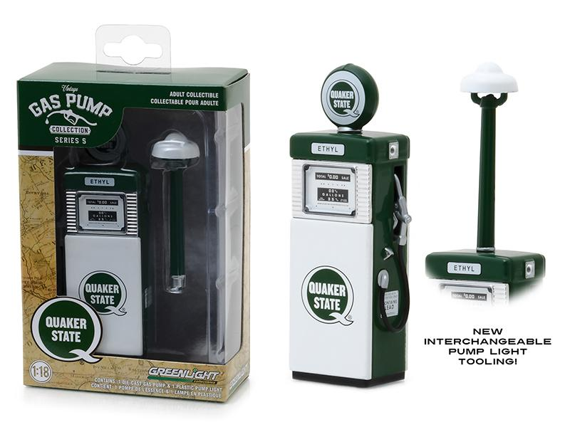 "1951 Wayne 505 \Quaker State"" with Pump Light Gas Pump Replica Vintage Series 5 1/18 Diecast Model by Greenlight"""