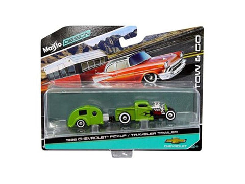 1936 Chevrolet Pickup Green and Traveler Trailer Tow & Go 1/64 Diecast Model by Maisto