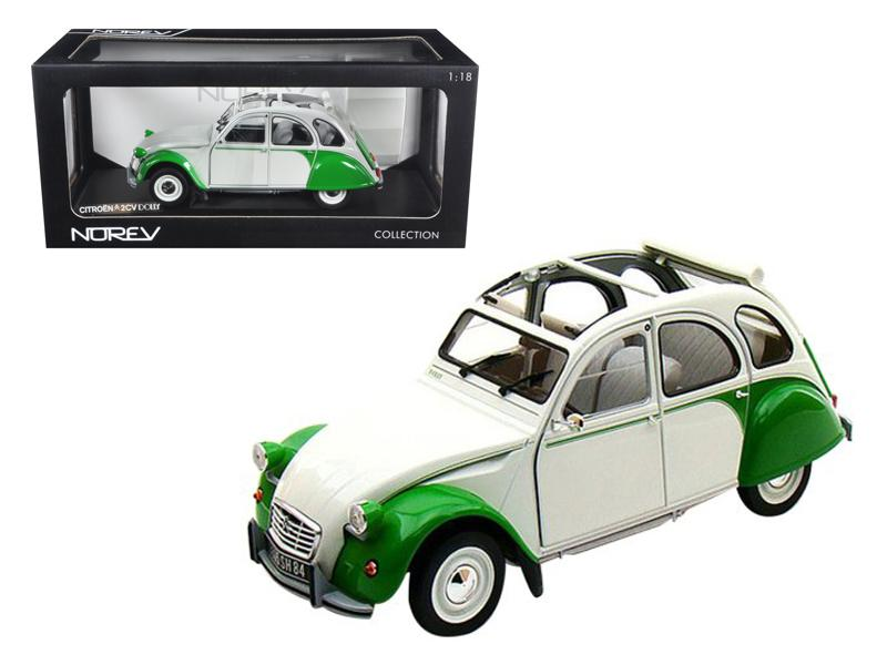 1985 Citroen 2CV Dolly White/Green 1/18 Diecast Model Car by Norev