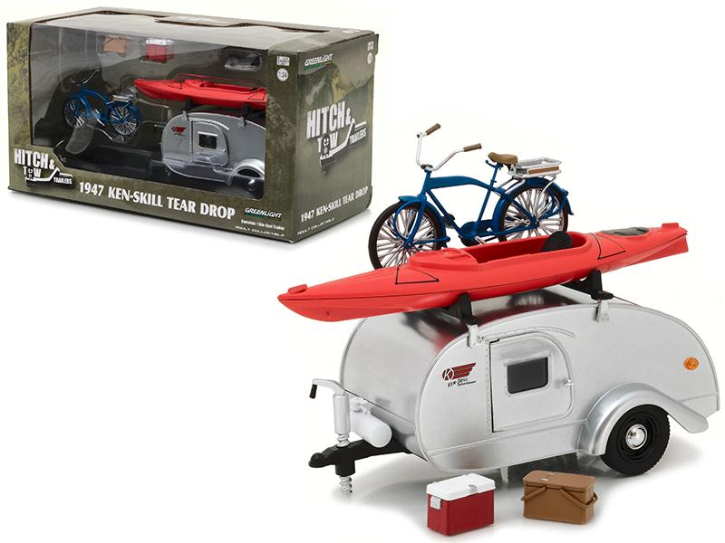 1947 Ken Skill Tear Drop Trailer with Accessories for 1/24 Scale Model Cars and Trucks 1/24 Diecast Model by Greenlight