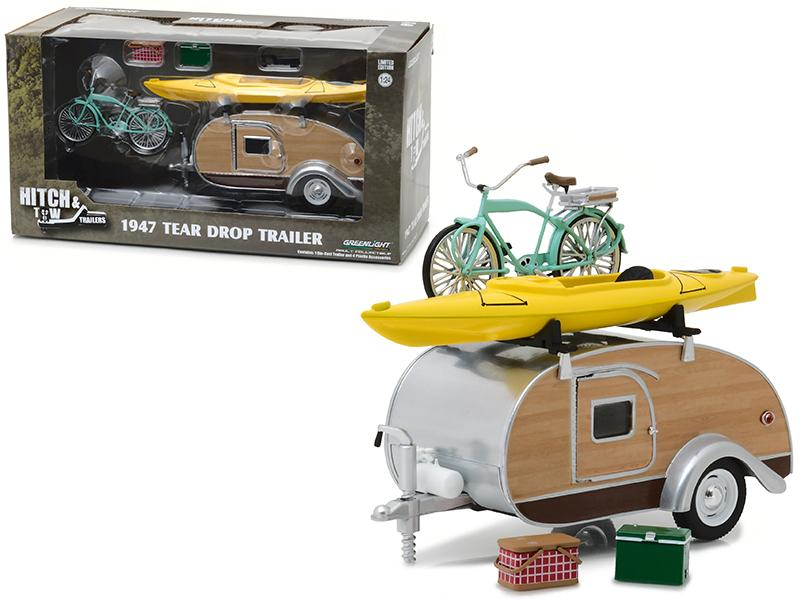 1947 Ken Skill Tear Drop Trailer with Accessories Hitch and Tow Trailers Series 3 for 1/24 Scale Model Cars and Trucks 1/24 Diecast Model by Greenlight