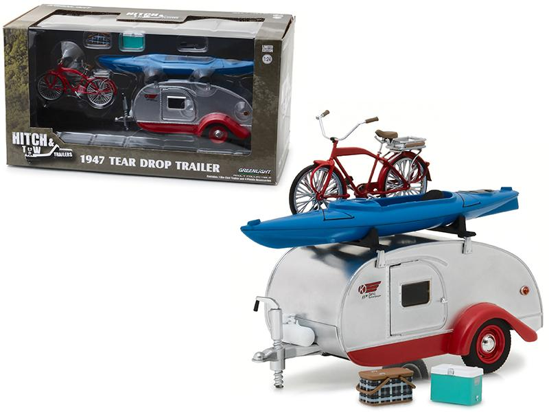 1947 Kenskill Tear Drop Trailer with Accessories Hitch and Tow Trailers Series 4 for 1/24 Scale Model Cars and Trucks 1/24 Diecast Model by Greenlight
