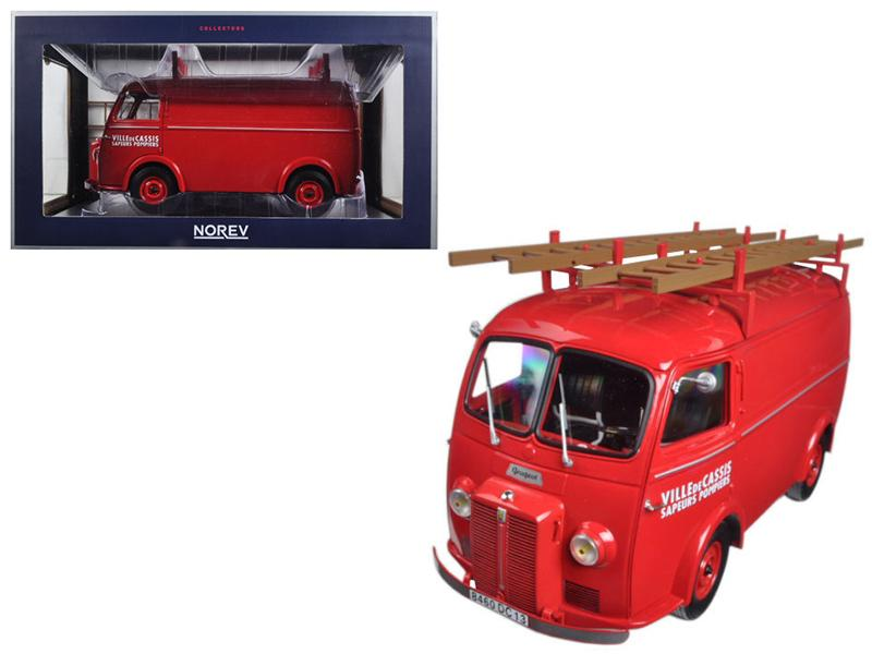 "1955 Peugeot D4A with Ladders \Pompiers"" 1/18 Diecast Model Car by Norev"""