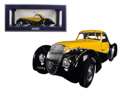1937 Peugeot 302 Darl Mat Coupe Black and Yellow 1/18 Diecast Model Car by Norev