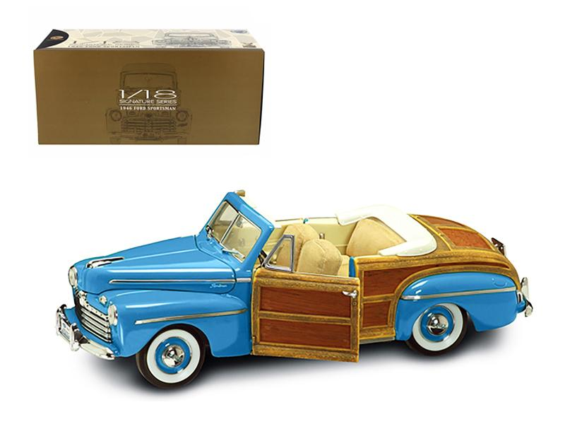1946 Ford Sportsman Woody Green With Leather and Wood 1/18 Diecast Car Model by Road Signature