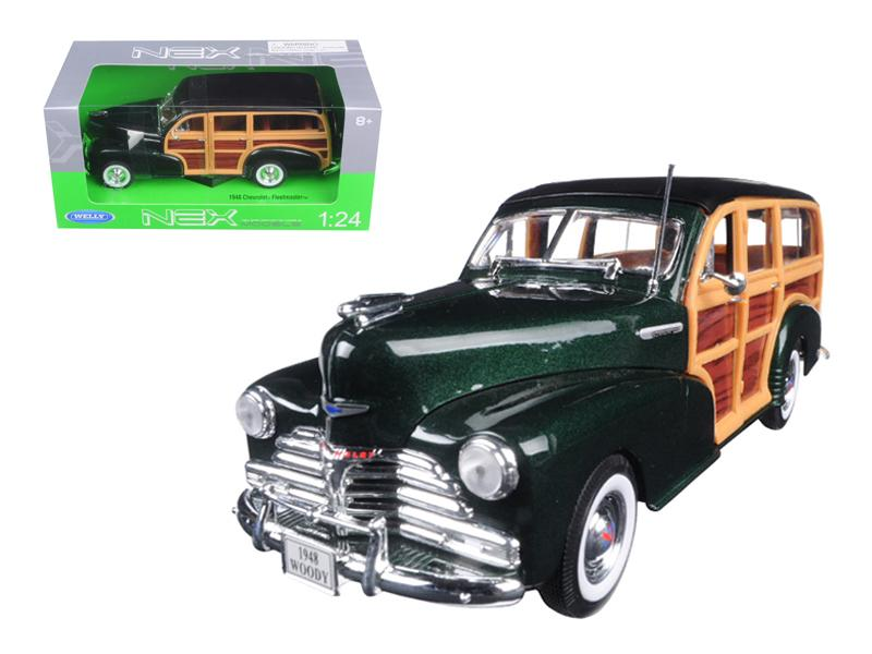 1948 Chevrolet Woody Wagon Fleetmaster Green 1/24 Diecast Model Car by Welly