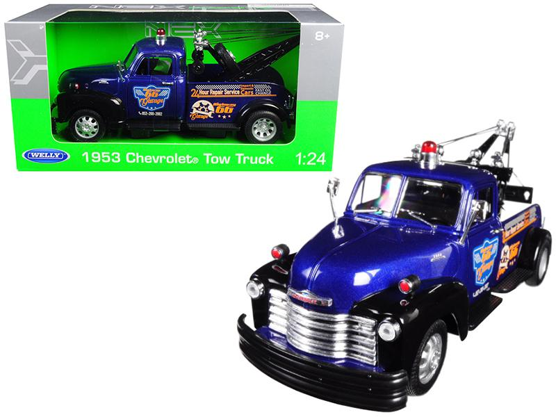 1953 Chevrolet Tow Truck Blue 1/24 Diecast Model Car by Welly