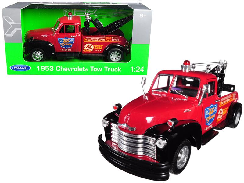 1953 Chevrolet Tow Truck Red 1/24 Diecast Model Car by Welly
