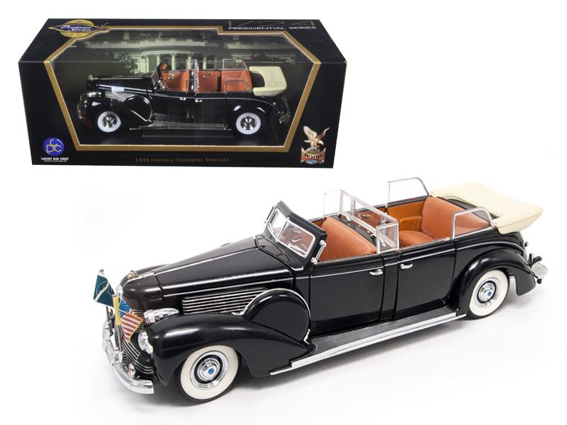1939 Lincoln Sunshine V12 Limousine with Flags 1/24 Diecast Model Car by Road Signature